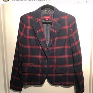 Navy and red blazer